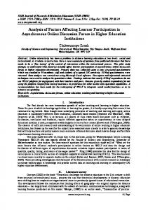 Analysis of Factors Affecting Learner Participation in ...