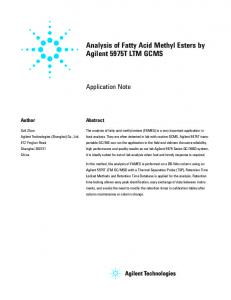 Analysis of Fatty Acid Methyl Esters by Agilent 5975T ...