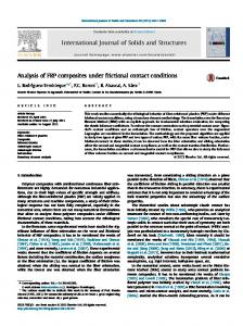 Analysis of FRP composites under frictional contact conditions - CORE