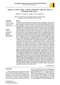 Analysis of heavy metals in some commercially important fishes of ...