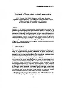 Analysis of integrated optical waveguides