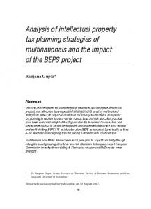 Analysis of intellectual property tax planning
