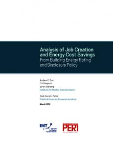 Analysis of Job Creation and Energy Cost Savings - Political Economy ...