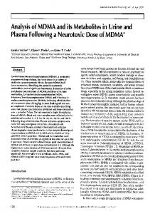 Analysis of MDMA and its Metabolites in Urine and Plasma Following ...
