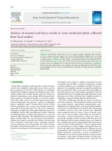 Analysis of mineral and heavy metals in some medicinal plants ...