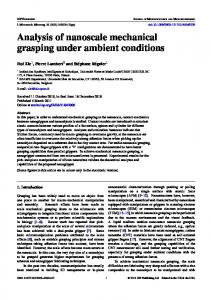 Analysis of nanoscale mechanical grasping under ambient conditions