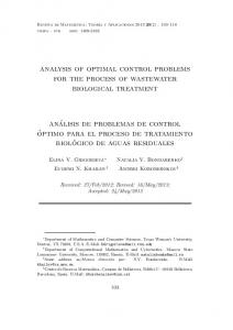 analysis of optimal control problems for the process of wastewater ...