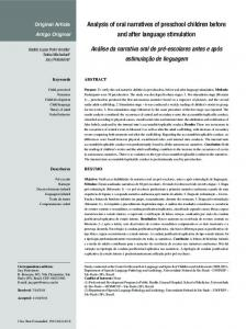 Analysis of oral narratives of preschool children before and ... - SciELO