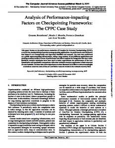 Analysis of Performance-impacting Factors on Checkpointing ...