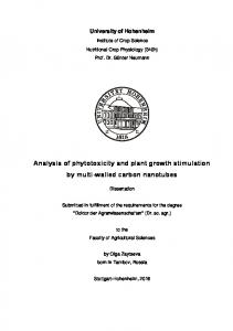 Analysis of phytotoxicity and plant growth stimulation by multi-walled ...