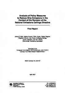 Analysis of Policy Measures to Reduce Ship Emissions in ... - CiteSeerX
