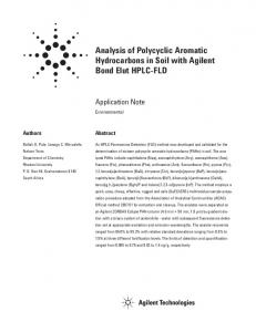 Analysis of Polycyclic Aromatic Hydrocarbons in Soil with Agilent Bond ...