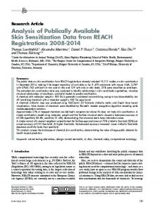 Analysis of Publically Available Skin Sensitization Data from ... - Altex