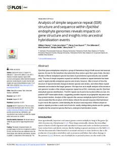 Analysis of simple sequence repeat (SSR) structure and sequence ...