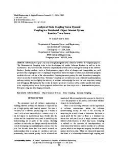 Analysis of Static Coupling Versus Dynamic Coupling in a ... - IDOSI