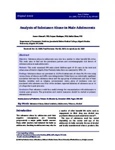 Analysis of Substance Abuse in Male Adolescents