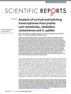 Analysis of survival and hatching transcriptomes from potato ... - Nature