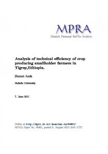 Analysis of technical efficiency of crop producing smallholder farmers