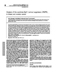 Analysis of the candidate 8p21 tumour suppressor ... - BioMedSearch
