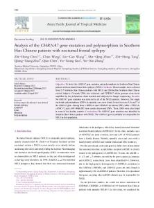 Analysis of the CHRNA7 gene mutation and polymorphism in ...
