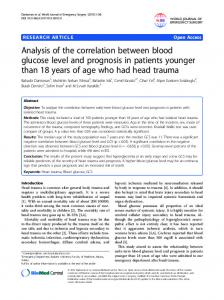Analysis of the correlation between blood glucose level and prognosis ...