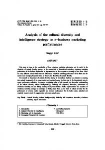 Analysis of the cultural diversity and intelligence