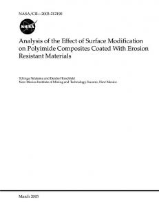 Analysis of the Effect of Surface Modification on ... - NTRS - NASA