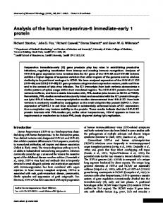 Analysis of the human herpesvirus-6 immediate-early 1 ... - CiteSeerX