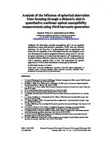 Analysis of the influence of spherical aberration from ... - OSA Publishing