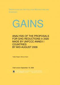 Analysis of the proposals for GHG reductions in 2020 made by ... - IIASA