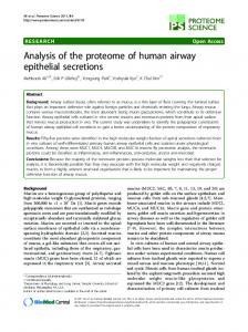 Analysis of the proteome of human airway epithelial ... - BioMedSearch
