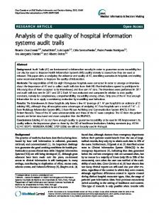 Analysis of the quality of hospital information systems audit trails