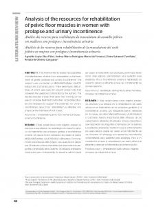 Analysis of the resources for rehabilitation of pelvic floor ... - SciELO