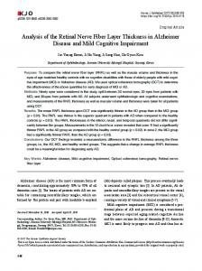 Analysis of the Retinal Nerve Fiber Layer Thickness in Alzheimer ...