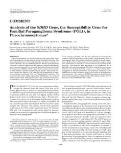 Analysis of the SDHD Gene, the Susceptibility Gene for Familial ...