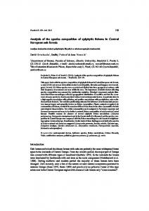 Analysis of the species composition of epiphytic lichens in Central ...