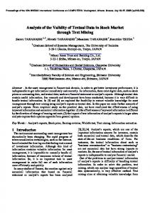 Analysis of the Validity of Textual Data in Stock Market ... - wseas