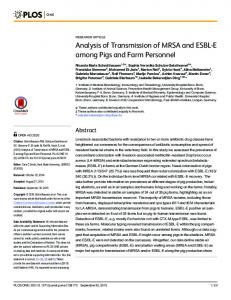 Analysis of Transmission of MRSA and ESBL-E among Pigs ... - PLOS