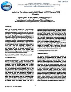 Analysis of Wormhole Attack in AODV based MANET ...