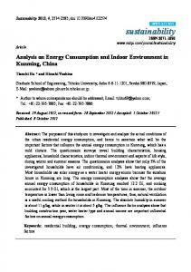 Analysis on Energy Consumption and Indoor Environment in ... - MDPI