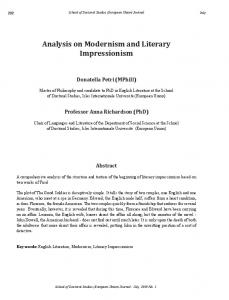 Analysis on Modernism and Literary Impressionism - Isles ...