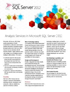 Analysis Services in Microsoft SQL Server 2012