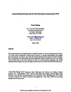 Analyst Responsiveness and the Post-Earnings-Announcement Drift ...