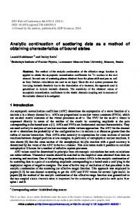 Analytic continuation of scattering data as a method of obtaining ...