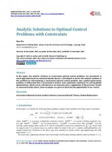 Analytic Solutions to Optimal Control Problems with Constraints
