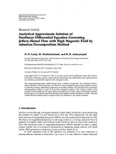 Analytical Approximate Solution of Nonlinear Differential Equation