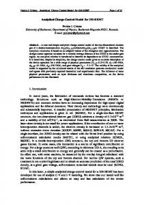 Analytical Charge-Control Model for DH-HEMT Petrica I
