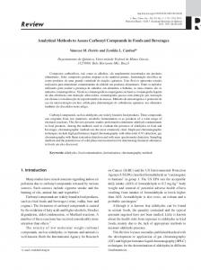 Analytical Methods to Assess Carbonyl Compounds in Foods and