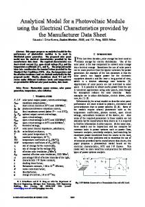 Analytical Model for a Photovoltaic Module using the ... - CiteSeerX