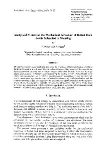 Analytical model for the mechanical behaviour of bolted rock joints ...